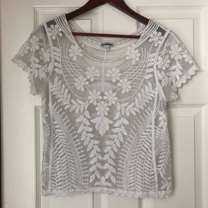 EXPRESS Lace Embroidered white blouse, size S